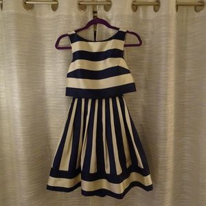 ModCloth Navy Blue and Ivory Faux Two Piece Dress